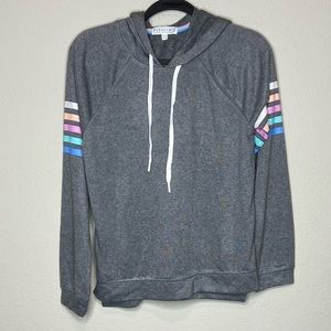 PJ SALVAGE Gray Hoodie Sweatshirt Stripe Small